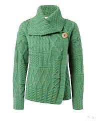 100% Merino Wool One Button Cardigan Green