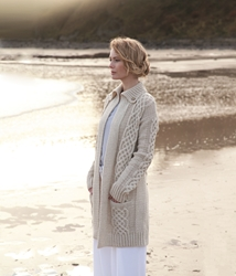 Ladies Plaited Coat Cardigan - A108