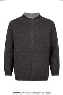 Mens Knitted Front Zip Charcoal Cardigan - A479